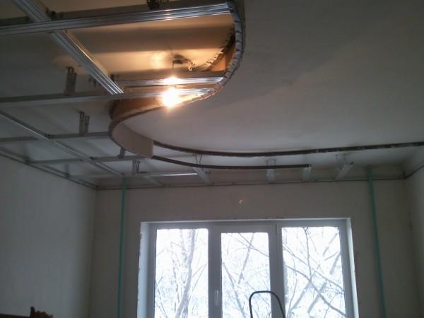 как крепить гипсокартон под натяжной потолок