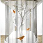 Декоративная клетка для птиц, встроенная в стол