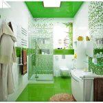 Позитивное настроение в зеленой ванной комнате
