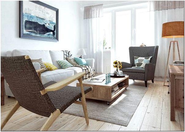 Фото 10 – Двухуровневые занавески из тюля: темный текстиль хорошо комбинируется с мебелью такого же цвета