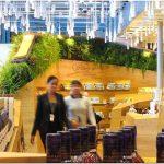 Потрясающий интерьер магазина беспошлинной торговли heinemann с элементами ландшафтного дизайна, аэропорт gardermoen, осло, норвегия