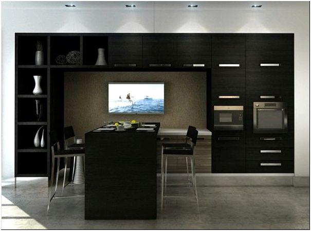 современный чёрный дизайн кухни