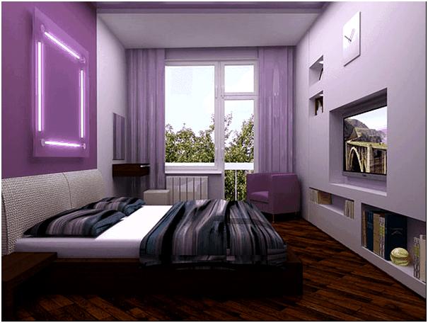 Фото — 5 Интерьер спальни в сиреневых тонах