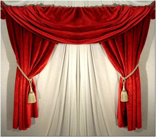 Фото — 10 Короткие шторы из красного бархата