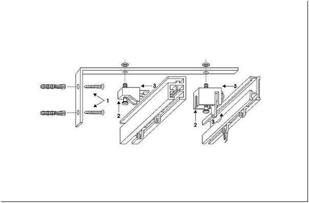Схема 3 — Настенный монтаж карниза из алюминиевого профиля