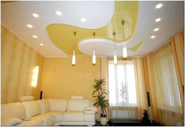 Фото 7 - Фигурный двухуровневый потолок 1-го типа в зале
